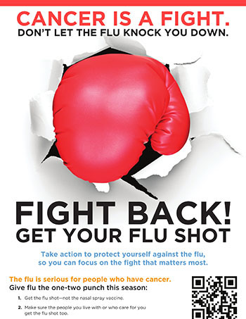 Cancer Is a Fight. Don't Let the Flu Knock You Down poster (PDF)