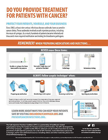Injection Safety Reminders for Oncology Providers fact sheet (PDF)