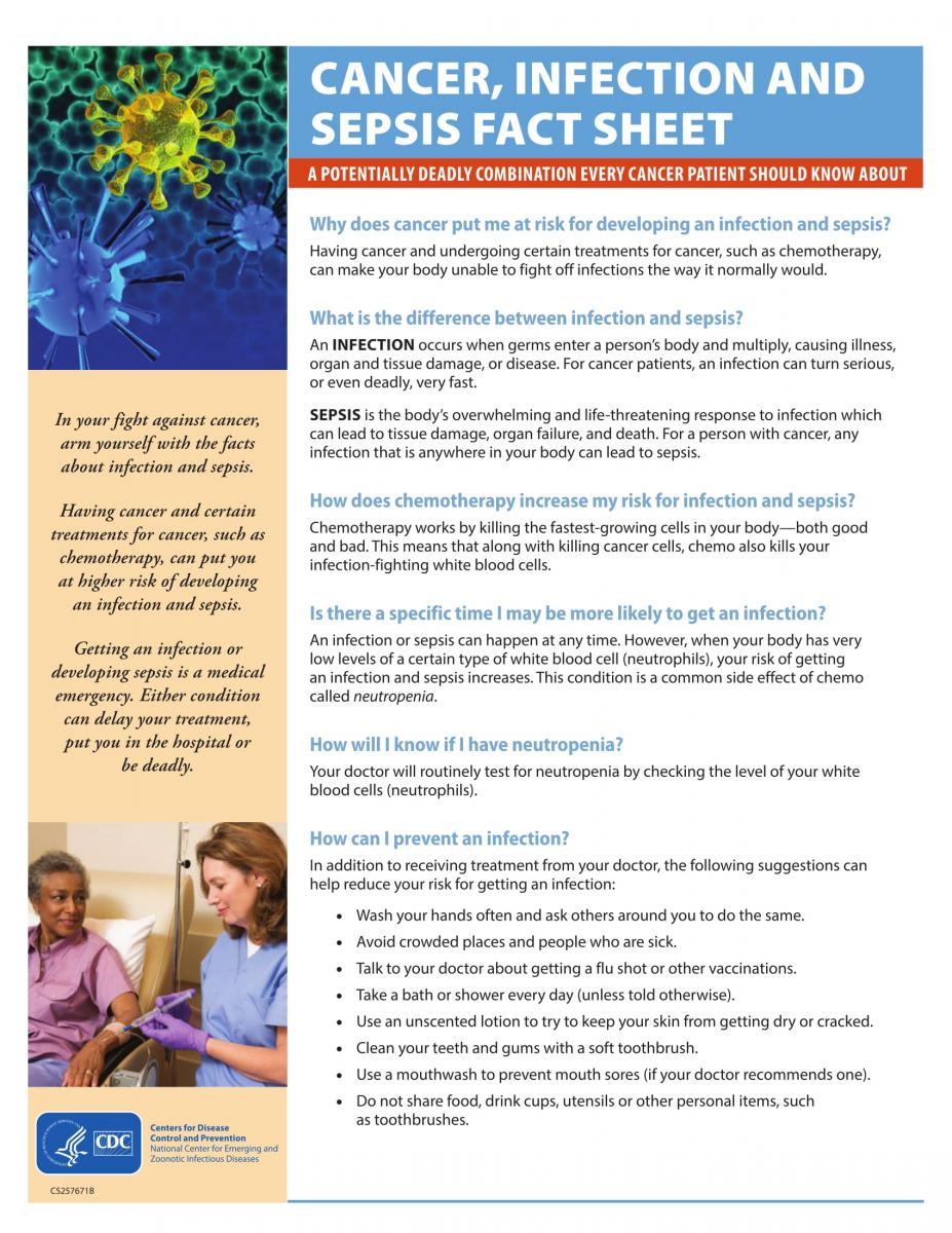 Cancer, Infection and Sepsis Fact Sheet