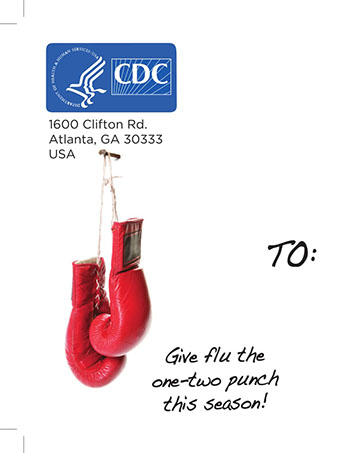 Cancer Is a Fight. Don't Let the Flu Knock You Down post card (PDF)