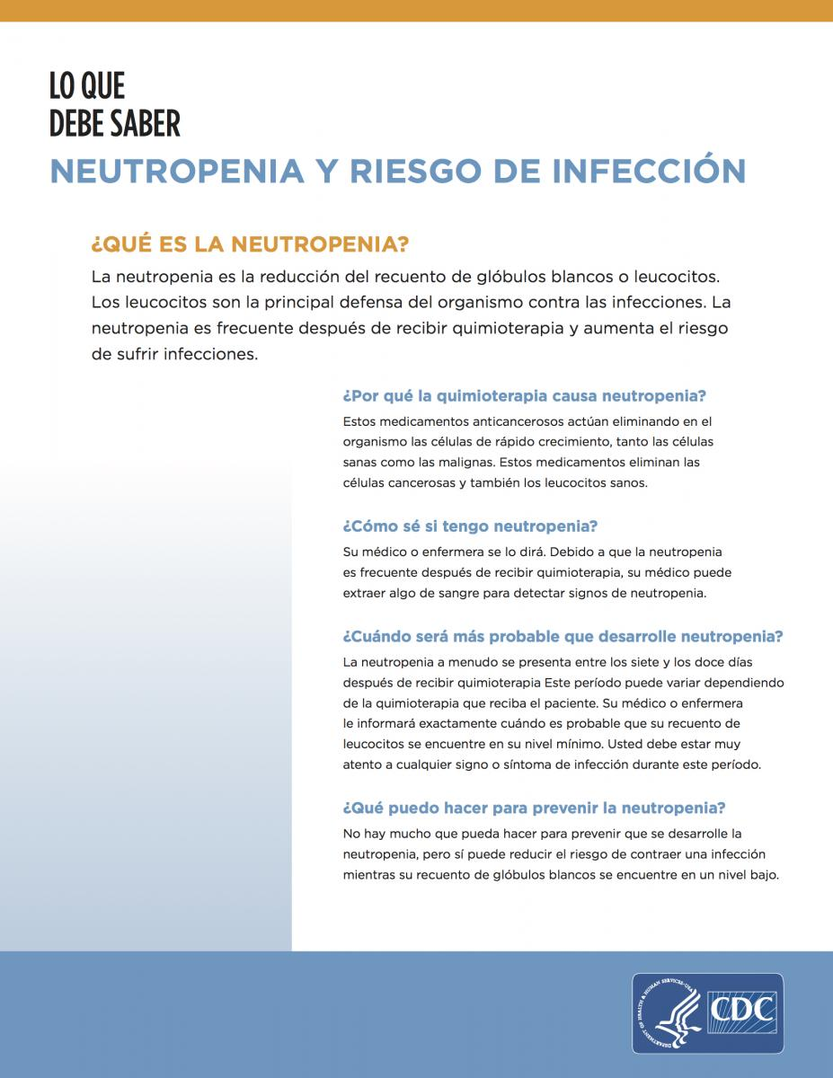 Neutropenia and Risk for Infection: What You Need to Know fact sheet (PDF)
