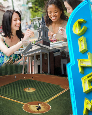 Photo of a variety of social activities-baseball game, theater, restaurant